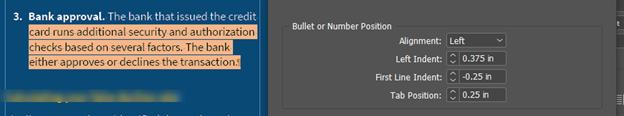 screenshot of Adobe Indesign indent features