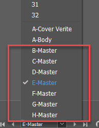 """screenshot of Adobe InDesign master page tool with """"E-Master"""" highlighted"""