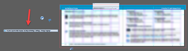 screenshot of Adobe InDesign artboard with element outside canvas and bleed